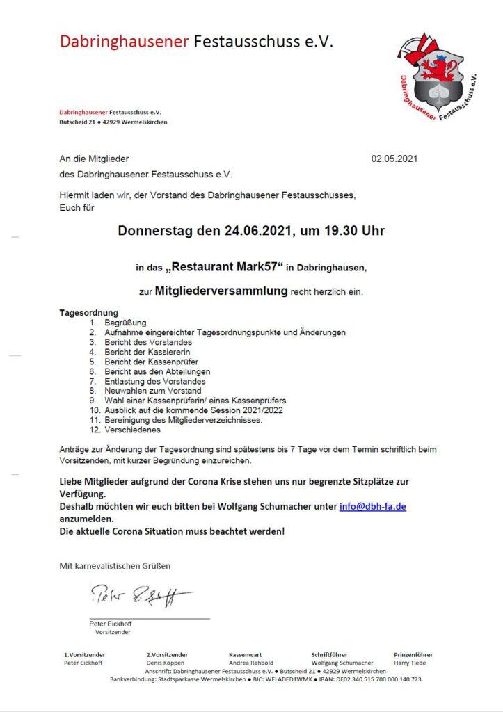 Einladung Mitgliederversammlung 24.06.2021